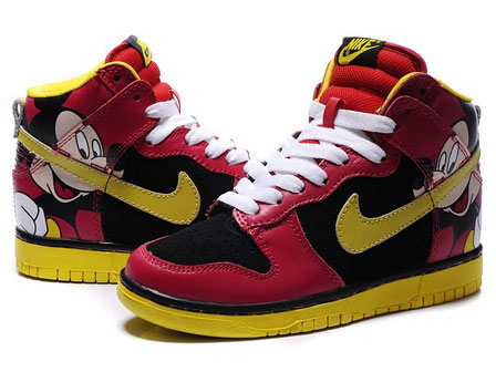 Disney-Mickey-Mouse-Nike-Dunk-High-tops-Shoes-For-Girls-Red-Black-Yellow_1